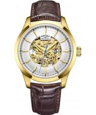 Rotary GS05035-03 Mężczyźni pozłacane brązowy zegarek mechaniczny szkielet