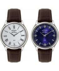 Rotary GS02965-05-21 Mężczyźni objawienia brązowym skórzanym paskiem zegarek z odwracalnym tarczy