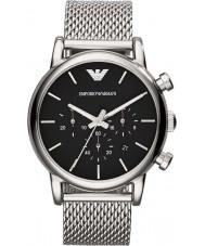Emporio Armani AR1811 Klasyczne męskie chronograf czarna siatka srebrny zegarek bransoletka