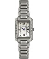 Rotary LB02650-41 zegarki damskie kryształu ramka stalowa biały zegarek
