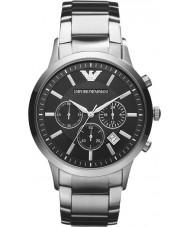 Emporio Armani AR2434 Klasyczne męskie chronograf czarny srebrny zegarek
