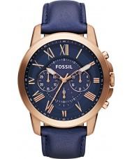 Fossil FS4835 Mężczyźni przyznają marynarki skórzane chronograf zegarka