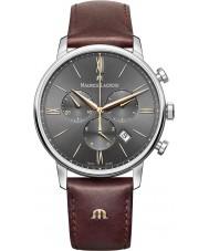 Maurice Lacroix EL1098-SS001-311-1 Męska Eliros brązowy skórzany pasek zegarka Chronograph