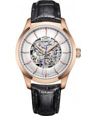 Rotary GS05036-06 Mężczyzna róży złocone czarny zegarek mechaniczny szkielet