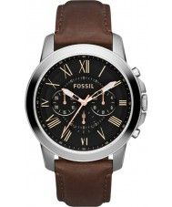 Fossil FS4813 Mężczyźni przyznają brązowy skórzany zegarek chronograf